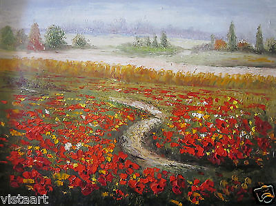 """Oil Painting On Stretched Canvas 12""""x16"""" ~Path Trough Flowers~"""
