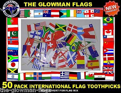50 WORLD flags INTERNATIONAL flags toothpicks for cooking cupcakes cocktail