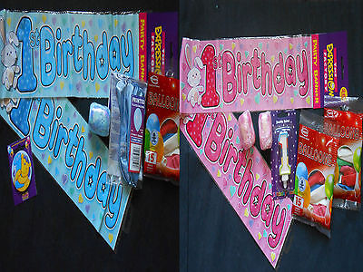 1 st  YEAR GIRL/BOY BIRTHDAY PARTY PACK  Banner, Balloons, Ribbon,Candle, Badge