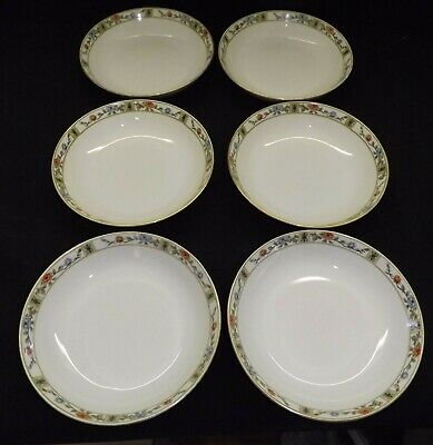 Royal Bayreuth 5 Coupe Soup Bowls - 6th one Chipped Blue & Reddish Orange Flower