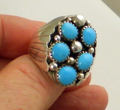 Estate Vintage Stunning Bold Sterling Silver Bright Blue Turquoise Size 11 Ring