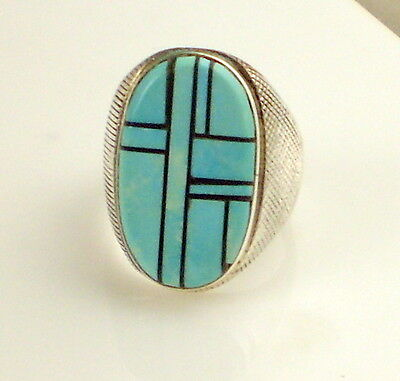 Estate Vintage Stunning J P  Sterling Silver Inlaid  Blue Turquoise Size 9 Ring