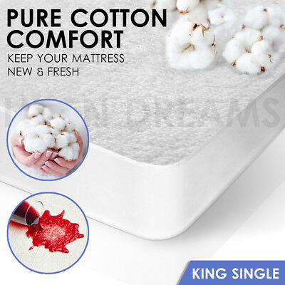 Fully Fitted Terry Cotton Waterproof Mattress Protector Cover - KING SINGLE