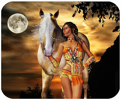 Mouse Pad Custom Thick Mousepad-Indian Woman & Horse - Add Any Text Free