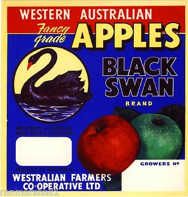 Western Australia Black Swan Bird Apple Fruit Crate Label Art Print