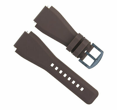 24Mm Silicone Rubber Watch Band Strap For Bell Ross Br-01-Br-03 Brown Black Pvd