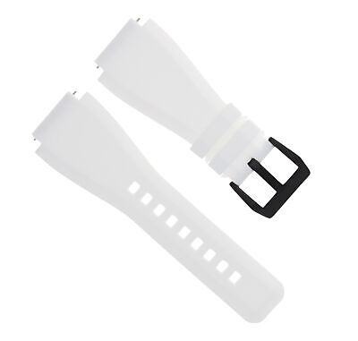 24Mm Silicone Rubber Band Strap For Bell Ross Br-01-Br-03 White Black Pvd Buckle