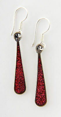 Tumi red drop earrings hand made Mexico fair trade
