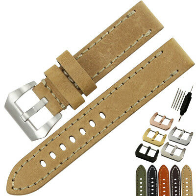 Replacement Italy Genuine Leather Watch Band Strap Pin Buckle 20 - 26mm for PAN