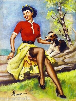 1940s Pin-Up Girl & Fox Terrier Puppy Dog Vintage Pin Up Poster Print Art