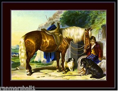 English Picture Print Horse Boy Dogs Tradecard Vintage Poster Art