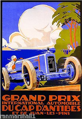 1929 Grand Prix Race Antibes Automobile Car Vintage Advertisement Poster
