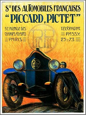 French Piccard Pictet Automobile Car Advertisement Poster