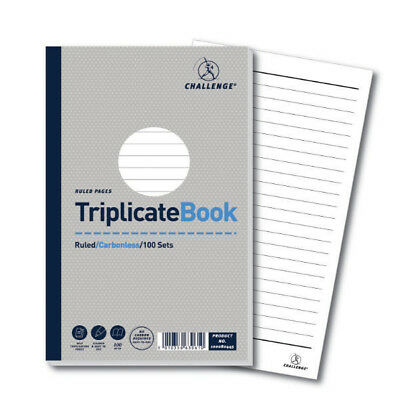 Challenge Triplicate Book Ruled Carbonless 100 Sets 210 x 130mm (Pack of 5) 1000