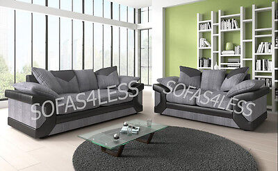 new dino 3+2 seater sofa couch, armchair, fabric & faux leather black grey brown