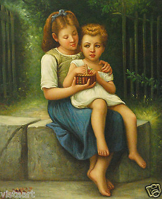 """Oil Painting On Canvas 20""""x 24""""- Siblings with Berries"""