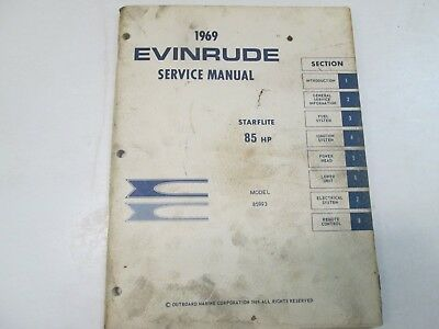 1969 Evinrude Service Shop Repair Manual 85 HP 85993 Starflite OEM Boat x NEW 69