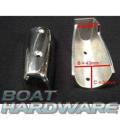 Gunwale Gunnel Rub Rail End Corner Caps 95mm - Pair 316 Maine SSteel Fender Boat