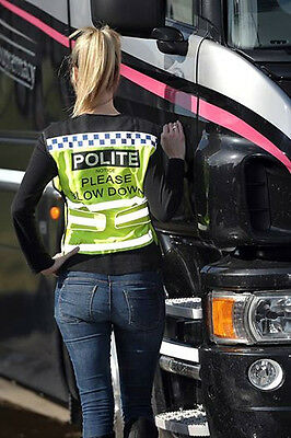 Polite Waistcoat Please Slow Down Small - Fluorescent Safety Riding Wear