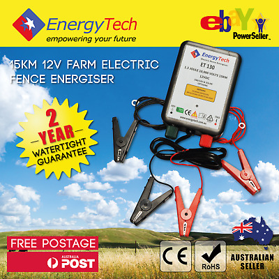 15KM ENERGYTECH 12V Farm Electric Fence Energiser WITH Optional Solar Kit