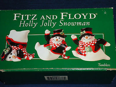 Boxed set of 3 ceramic Fitz and Floyd HOLLY JOLLY SNOWMAN Christmas Figurines
