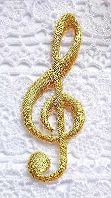 embroidered iron on applique-GOLD MUSICAL CLEFT