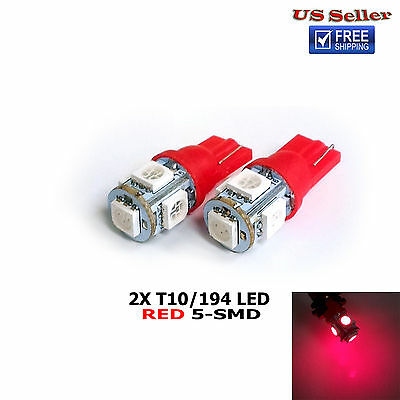 2PCs T10 194 Red 5-SMD 5050 LED License Plate Lights 192 194 168 921 W5W 2825