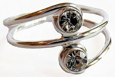Sterling Silver (925) Adjustable Clear Double Jewel Toe Ring !!      New !!
