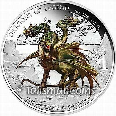 Tuvalu 2013 Dragons of Legend Hydra Three 3 Headed Bulgarian $1 Silver 2012 #788