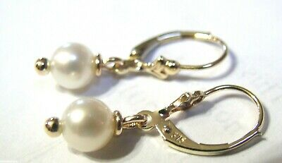 KAEDESIGNS NEW 9CT YELLOW GOLD 6mm WHITE PEARL CONTINENTAL CLIP EARRINGS