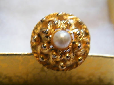 Beautiful Gold Tone Cocktail Ring Raised Design Faux Pearl Adjustable NICE
