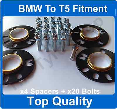 5mm Hubcentric Alloy Wheel Spacer Fitting Kit With Bolts Bmw X5 to VW T5