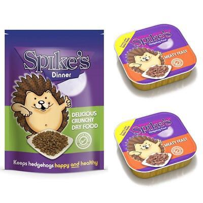 Spikes Delicious Dinner Dry Hedgehog Food 2.5kg & 2 Meaty Feast 100gm Meat Trays