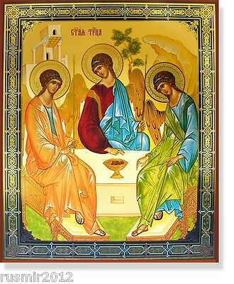 "Russian Orthodox Old Testament Trinity LARGE Wood Icon 15 7/8"" x 13 1/8"""