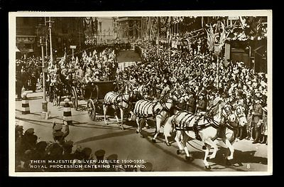 Royalty King George V SILVER JUBILEE 1935  Procession entering Strand RP PPC
