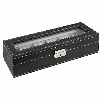 Watch Box Large 6 Mens Black Leather Display Glass Top Jewelry Case Organizer