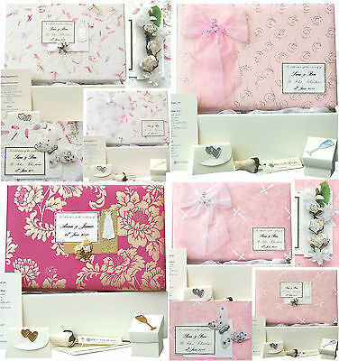 LARGE Wedding Keepsake Box - 12 Pink Designs PERSONALISED, 4 Motifs +/- Extras