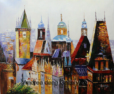 Original Prague Oil painting Wall art Deco On Canvas knife Hand Painted prg019