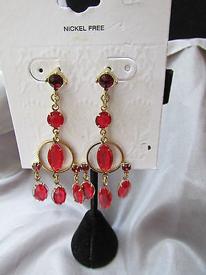 Sexy!!! Red Rhinestone 4 Tier Round And Marquise Dangle Earrings Nickel Free