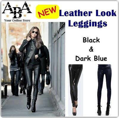 New Leather Look Leggings, ladies fashion pants, stretch tight