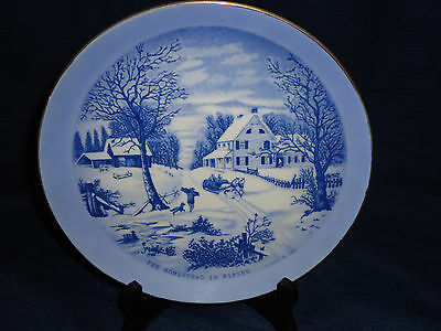 "8.5"" Blue & White Currier & Ives THE HOMESTEAD IN WINTER Plate made in Japan"