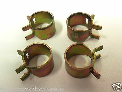 4 x Petrol Pipe Clips 10mm Spring Steel for Motorcycle etc to Secure Fuel Hose