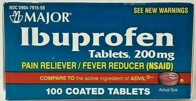 Major Ibuprofen 200mg Pain Reliever 100ct -FREE WORLDWIDE SHIPPING-