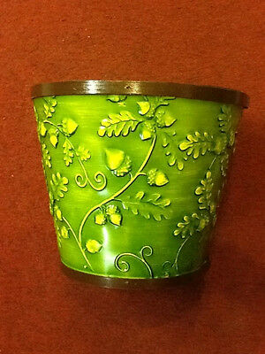 "Green Acorn Embossed wood planter with liner - Fits 8"" pot - Flower Pot - New"