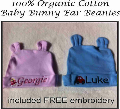Personalised Baby Beanie Organic Cotton, Hat, Cap, Newborn, Personalised Gift