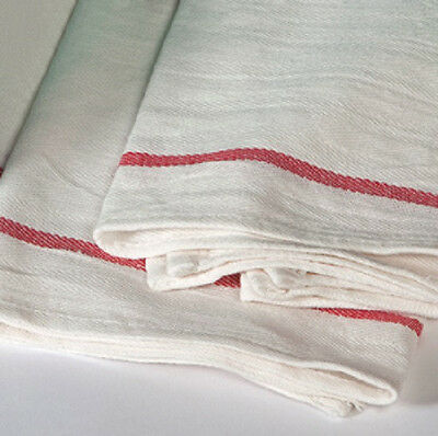 60 New  Herringbone Non Terry Towels Lint Free Red Stripe 100% Cotton