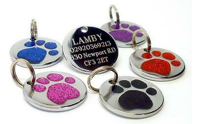 Glitter Round 25mm Pet Id Dog Tag Paw Design (No 7) by Melian Engraved FREE