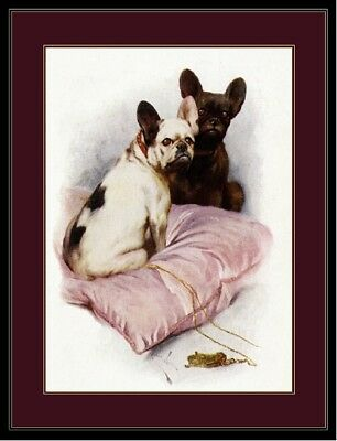 English Print French Bulldog Dog Duo Art Picture