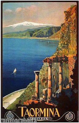 Taormina Italy European Vintage Art Travel Advertisement Poster Picture Print