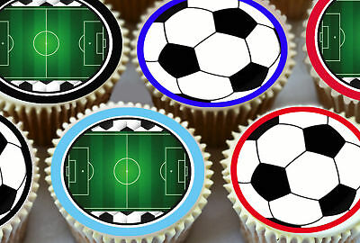 24 X  Black And White Footballs With Pitch Edible Cupcake Toppers Rice Paper